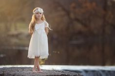 Ivory Lace Flower Girl Dress Peasant Dress by CountryCoutureCo