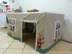 What a great idea! Make a table cover/ playhouse for your kids! They already love playing under the table so this is perfect ! Cubby Houses, Play Houses, Kids Play Spaces, Table Tents, Under The Table, Table Covers, Cubbies, Diy Crafts To Sell, Interior Design Living Room