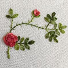 I've been experimenting with cast-on stitch roses I did this all with three strands of floss. They're very 3D, impressive little things...FUN❣ #crabapplehill #handembroidery #handmade #embroidery #stitching #nationalembroiderymonth #broderies