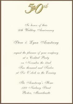 Printable 50th Golden Anniversary Invitation
