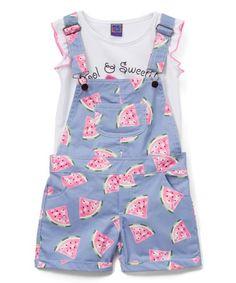 This Pink Watermelon 'Cute & Sweet' Tee & Shortalls - Toddler & Girls is perfect! #zulilyfinds