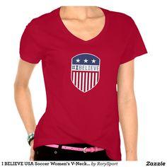 I BELIEVE USA Soccer Women's V-Neck T-Shirt