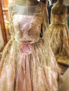 Joanne Fleming Design; 'Antoinette' antique-gold French lace and pale pink silk tea length wedding dress