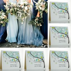 Lovebird wedding invitations. Blue wedding colour scheme.