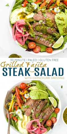 Recipes Steak An easy grilled fajita steak salad that's loaded with tender steak, veggies, avocado and a quick chimichurri dressing. Low carb, paleo and gluten free - this healthy fajita salad is a dinner recipe that's done in 30 minutes. Healthy Eating Recipes, Healthy Salad Recipes, Healthy Eats, Protein Recipes, Healthy Cooking, Vegetarian Recipes, Steak Fajitas, Chimichurri, Mexican Dinner Recipes
