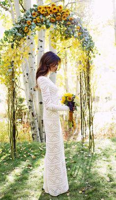 Sunflower wedding ceremony arch