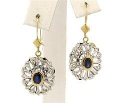 14k Gold Sapphire Diamond Drop Earrings Featured in our upcoming auction on November 2, 2015 11:00AM EST!