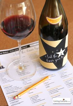 2014 Oscars Ballot & Wine Labels ~ Free Party Printables at LivingLocurto.com