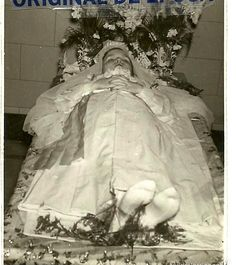 Josefina Vilaseca, 12 years old, lying in state (1952). the poor girl was abused and died later