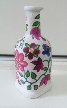 Garrafa de vidro reciclada e pintada Garrafa pintada  Garrafa decorada