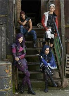 Are villain kids born evil? Jay, Carlos, Mal and Evie on the Isle of the Lost. READ IT: http://grown-up-disney-kid.tumblr.com/post/120531392199/disney-villain-descendants-are-going-to-high
