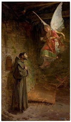 """I thank you, Lord, with all my heart; in the presence of the angels to you I sing."" Psalm of David // Vision of Saint Francis of Assisi / Visión de San Francisco de Asís // 1888 // Luis Menéndez Pidal // Catholic Art, Catholic Saints, Roman Catholic, Religious Images, Religious Art, Religious Paintings, Clare Of Assisi, St Clare's, Francis Of Assisi"
