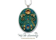 Handmade Polymer Clay Pendant with Swarovski Crystals, 30x40mm Cabochon, Applique Floral Jewelry, ART you can wear!