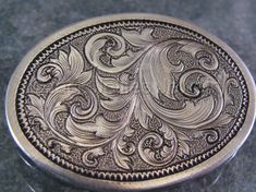 """Contemporary Jewelry - """"Engraved Silver Scrollwork Brooch"""" (Original Art from Jack Jellies Jewelry)"""