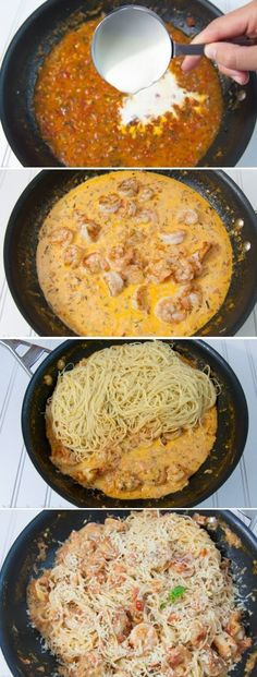 Food & Drink: Spaghetti with Shrimp in a Creamy Tomato Sauce