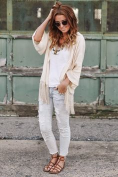 fringed kimono, basic tank, destroyed denim, brown leather sandals, top it off with a statement necklace