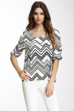 Peach Love Cream California Zigzag Long Sleeve Blouse on HauteLook