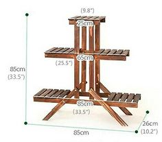 5 Tier Wood Shelf Plant Stand Bathroom Rack Gardening Planter Holder Carbonized