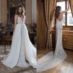 V-Neck Spaghetti Straps Ivory Mermaid Lace Wedding Dresses 2017 Backless Detachable Skirt Sexy Wedding Dresses