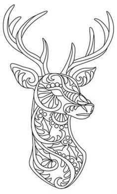 Bohemian reindeer urban threads: unique and awesome embroidery designs выши Animal Coloring Pages, Coloring Book Pages, Paper Embroidery, Embroidery Patterns, Illustration Noel, Mandalas Drawing, Wood Burning Patterns, Quilling Patterns, Mandala Coloring