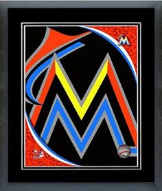 Miami Marlins Team Logo Framed With double black matting Ready To Hang- Awesome & Beautiful
