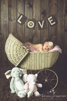 Newborn Baby Girl Vintage Stroller