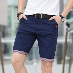 80d2f34eda5 Summer 2019 Casual Shorts Men Plaid Hem Cotton Short Pants Fashion  Streetwear Shorts Bermuda Homme Short Pantalon Court Plus Size Men