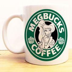 Megbucks Coffee Mug   Hercules Love Starbucks   Disney Princess