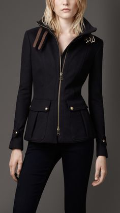 Burberry Funnel Neck Military Jacket