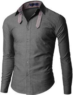 Doublju Mens Long Sleeve Shirts with Ribbon