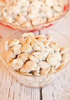 White Chocolate Vanilla Peanut Butter Puppy Chow. Try this easy no-bake white chocolate version for holiday parties. Addictive!