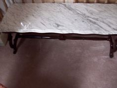"William Ramsay Mahogany Marble Coffee Table hamilton Measures 51"" L, 19"" D & 17"" H."