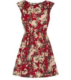 Madam Rage Red Floral Print Skater Dress
