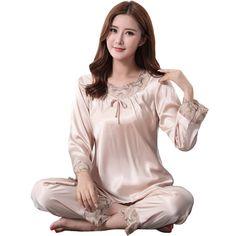 Big Size XXXL Faux Silk Pajamas Pijamas Set Female 2PCS Nightwear Casual  Sleepwear Floral Trim Sexy e5a651d3c