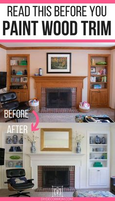 Looking into painting wood trim white? This step-by-step tutorial on how to paint wood trim without sanding is going to amaze you. With four paint wood trim before and after rooms, and the best painting wood trim tips, DIY Decor Mom answers all of your qu Paint Stained Wood, Stained Wood Trim, Painting Wood Paneling, Painting Brick, Painting Baseboards, Painting Cabinets, Painted Wood, Painted Built Ins, Sanding Wood