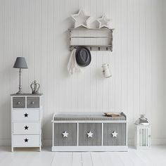 Grey and white Star Cottage shabby chic hall furniture from The White Lighthouse. A storage bench with deep drawers