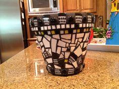 Black and White Mosaic flower pot