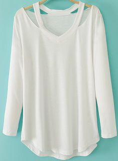 White Long Sleeve Halter Loose T-Shirt 14.55... or I could just cut a boring v neck tee that I already have :D