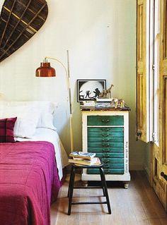Coloured vintage bedroom