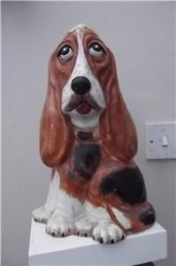 Antique HOUND DOG POTTERY HUGE SIZE LOVELY COLOURS AND EXPRESSION EXCELLENT CONDITION