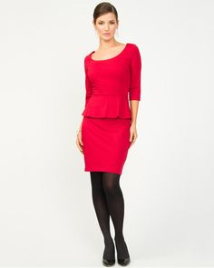 Le Château: Ponte Knit Peplum Cocktail Dress