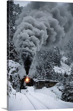 The Durango & Silverton Narrow Gauge Railroad train chugs through the snow, San Juan Mountains, Colorado. Very much fun but the winter train had no snow :( By Train, Train Tracks, Motor A Vapor, San Juan Mountains, Rocky Mountains, Train Posters, Old Trains, Winter Pictures, Winter Wonder
