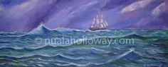 """Stormy Seas - The Jeanie Johnston"" by Nuala Holloway - Oil on Canvas www.nualaholloway.com #Maritime #JeanieJohnston #TallShips #NualaHolloway #IrishArt Stormy Sea, Irish Art, Tall Ships, Seaside, Oil On Canvas, Movie Posters, Movies, Films, Beach"
