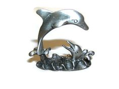 Miniature Figurine Two Dolphins Pewter  by DesignsByMaral on Etsy