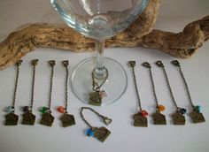 Love Letter Wine Glass Charms Gift Decor Favor, Party Favor w/ Heart & Love Letter Charms, Wine Lovers Present Gift by SeashellBeachDesigns on Etsy
