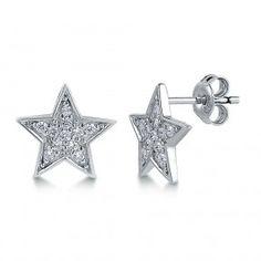 Sterling Silver Cubic Zirconia CZ Star Stud Earrings
