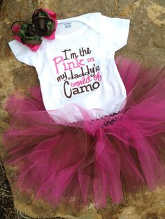 I'm the pink in my daddy's world of camo by sewsosweetdesigns, $35.00 must get this for Kendal!!!!
