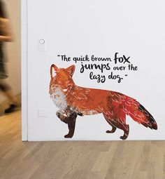 Quick Brown Fox Removable Wall Sticker by LittleStickerBoy on Etsy