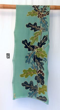 Silk Scarf Hand painted Japanese Scarf Green by SilkScarvesTakuyo