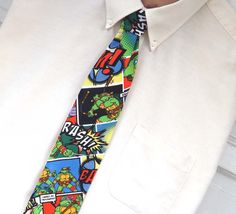 Teenage Mutant Ninja Turtle Comic Necktie TMNT Neck Tie from ALittleGeeky on Etsy. Saved to Cool Stuff. Boys Ties, Geek Chic, Learn To Sew, Teenage Mutant Ninja Turtles, Tmnt, Dads, Comics, Handmade, Etsy